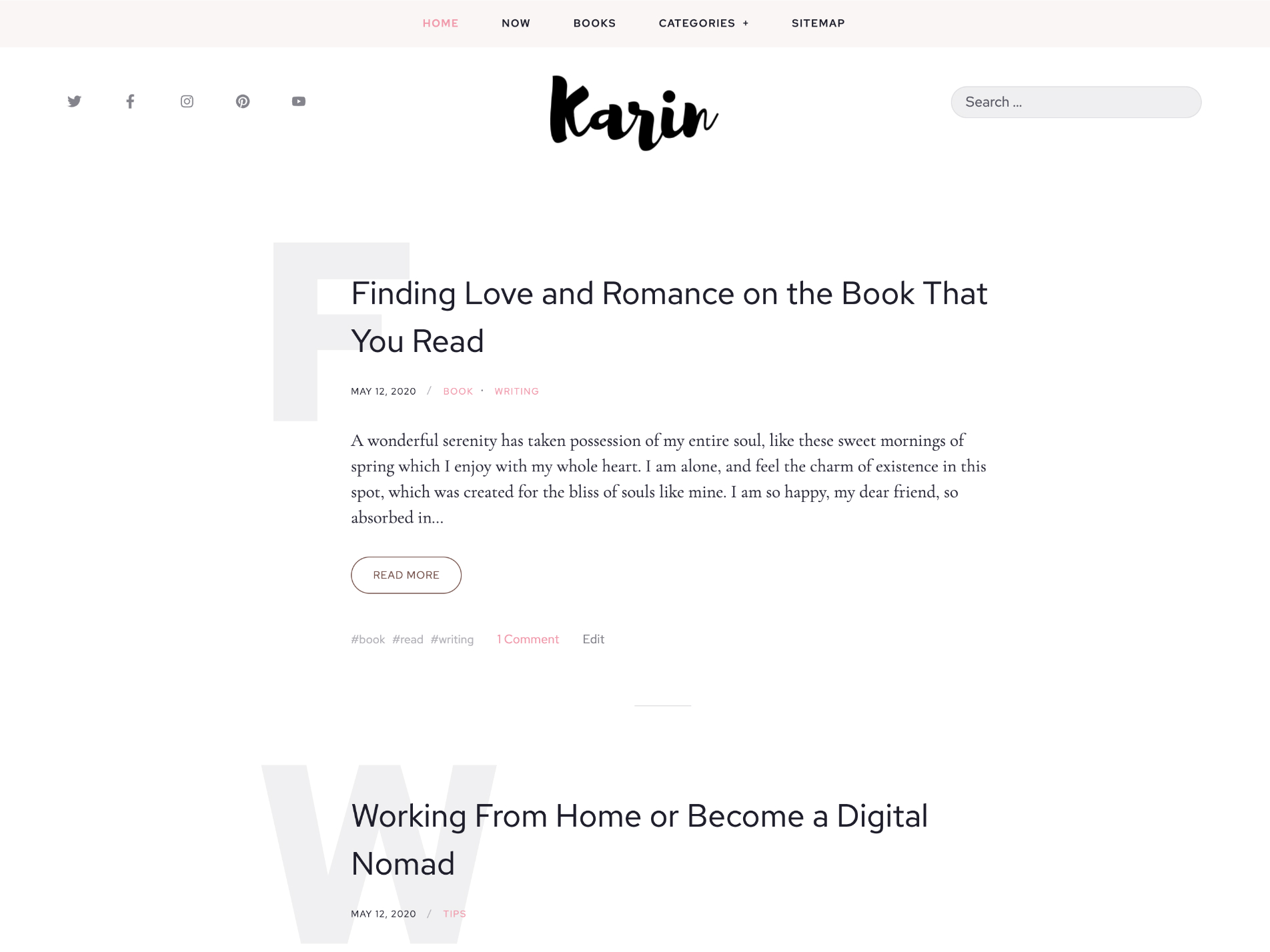 karin free blog wordpree theme